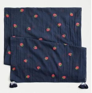 J. Crew cotton navy embroidery strawberry scarf